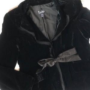 Black Velvet Blazer with Satin Tie - Large
